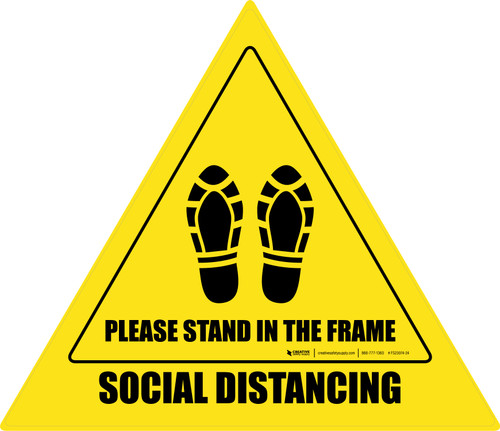 Social Distancing Please Stand In The Frame Shoe Prints Triangle