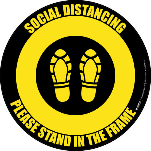 Social Distancing Please Stand In The Frame Shoe Prints Yellow/Black - Circular - Floor Sign