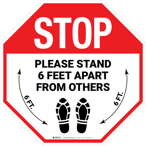 STOP Please Stand 6 Feet Apart From Others Shoe Prints Stop