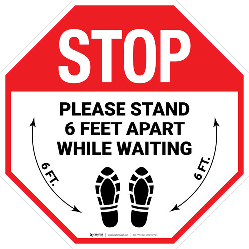 STOP Please Stand 6 Feet Apart While Waiting Shoe Prints Stop