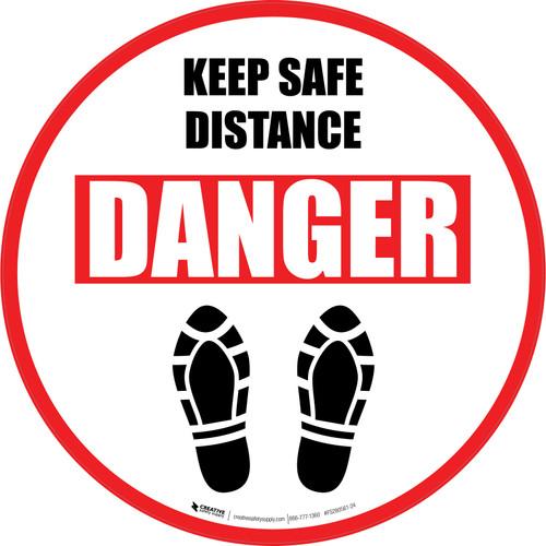 Keep Safe Distance Danger Shoe Prints Circular - Floor Sign