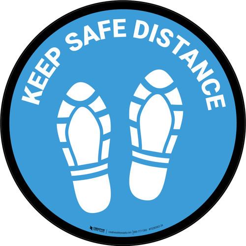 Keep Safe Distance Shoe Prints Blue Circular - Floor Sign