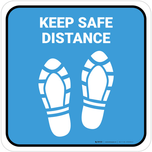 Keep Safe Distance Shoe Prints Blue Square - Floor Sign
