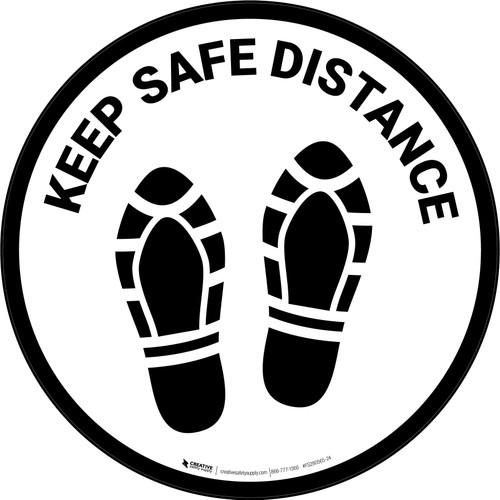 Keep Safe Distance Shoe Prints Circular - Floor Sign