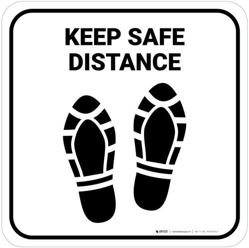Keep Safe Distance Shoe Prints Square - Floor Sign