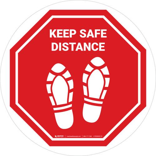 Keep Safe Distance Shoe Prints STOP Circular - Floor Sign