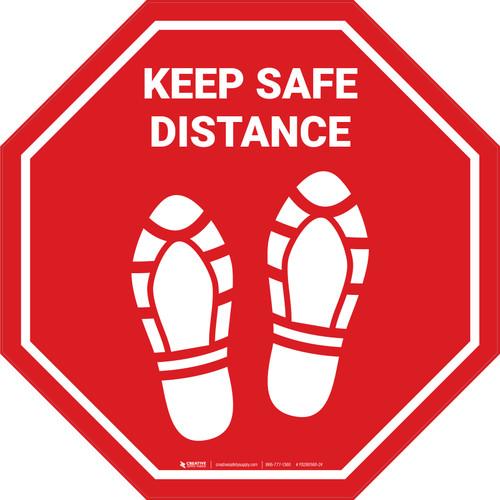 Keep Safe Distance Shoe Prints STOP - Floor Sign