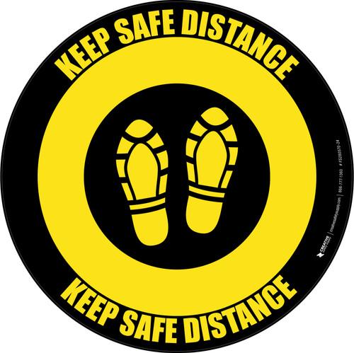 Keep Safe Distance Shoe Prints Yellow Black Circular - Floor Sign
