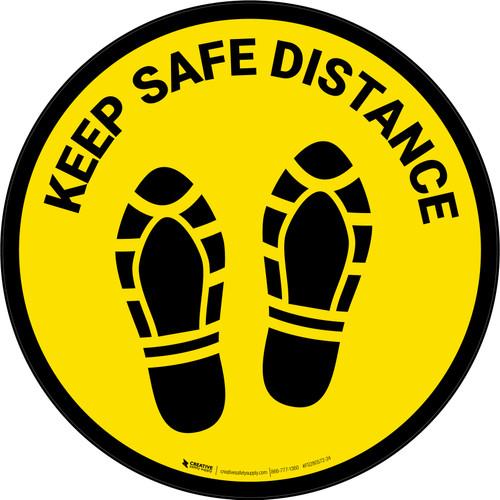 Keep Safe Distance Shoe Prints Yellow Circular - Floor Sign