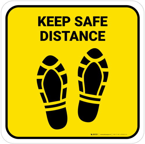 Keep Safe Distance Shoe Prints Yellow Square - Floor Sign