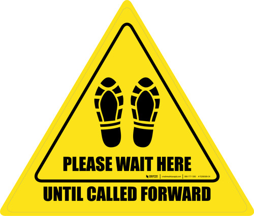 Please Wait Here Until Called Forward Shoe Prints Triangle - Floor Sign