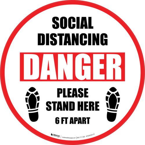Social Distancing Danger Please Stand Here 6 Ft Apart Shoe Prints Circular - Floor Sign