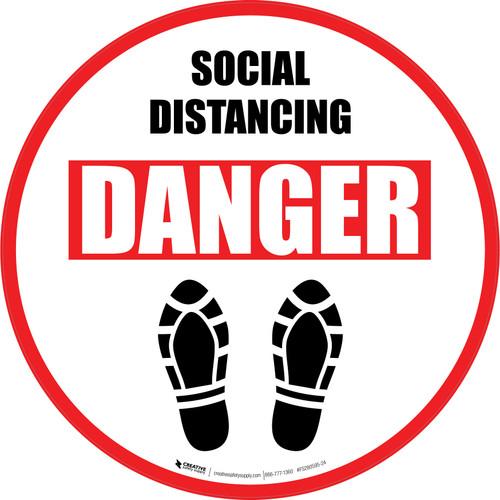 Social Distancing Danger Shoe Prints Circular - Floor Sign