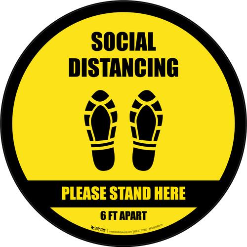 Social Distancing Please Stand Here 6 Ft Apart Shoe Prints Black Border Circular - Floor Sign