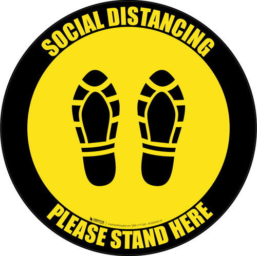 Social Distancing Please Stand Here 6 Ft Apart Shoe Prints Black Yellow Border Circular - Floor Sign