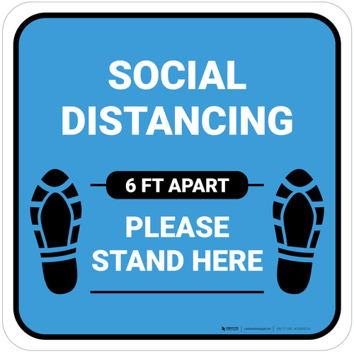 Social Distancing Please Stand Here 6 Ft Apart Shoe Prints Blue Square - Floor Sign