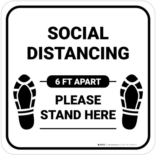 Social Distancing Please Stand Here 6 Ft Apart Shoe Prints Square - Floor Sign