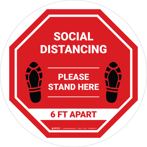 Social Distancing Please Stand Here 6 Ft Apart Shoe Prints Stop Circular - Floor Sign