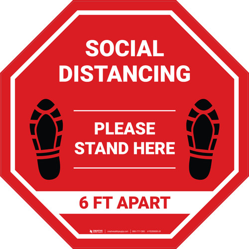 Social Distancing Please Stand Here 6 Ft Apart Shoe Prints Stop - Floor Sign