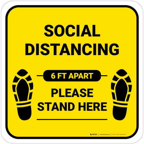 Social Distancing Please Stand Here 6 Ft Apart Shoe Prints Yellow Square - Floor Sign