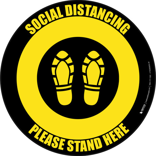 Social Distancing Please Stand Here 6 Ft Apart Shoe Prints Yellow Black Circular - Floor Sign