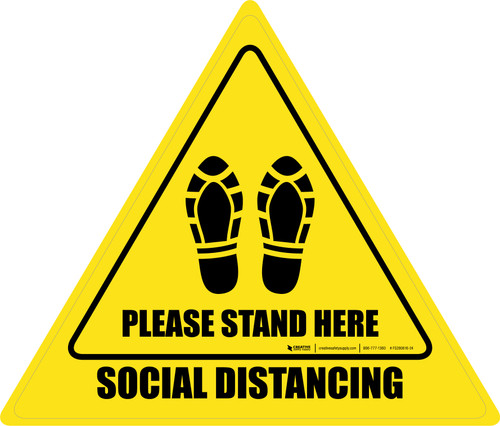 Social Distancing Please Stand Here Shoe Prints Triangle - Floor Sign