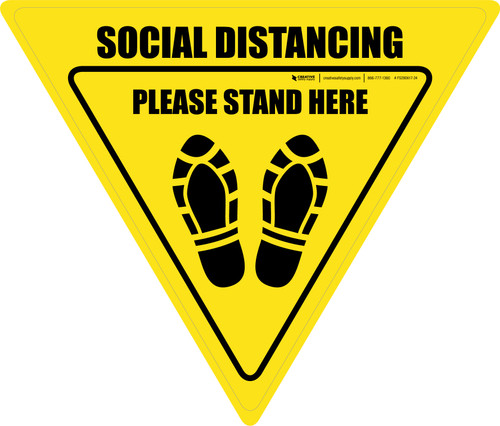 Social Distancing Please Stand Here Shoe Prints Yield - Floor Sign