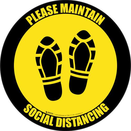 Social Distancing Shoe Prints Black Border Circular - Floor Sign