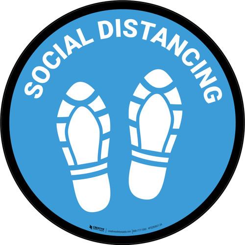 Social Distancing Shoe Prints Blue Circular - Floor Sign