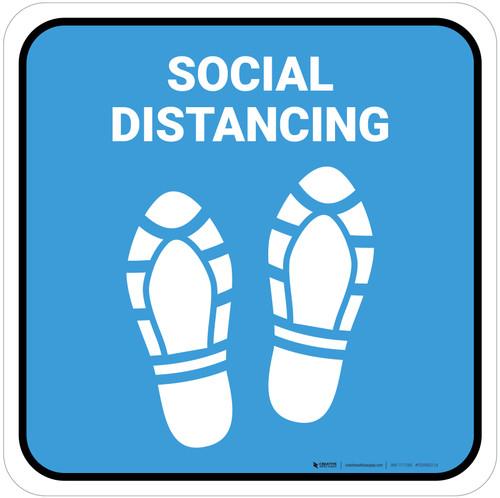 Social Distancing Shoe Prints Blue Square - Floor Sign
