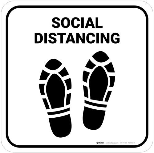 Social Distancing Shoe Prints Square - Floor Sign