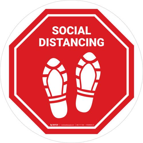 Social Distancing Shoe Prints Stop Circular - Floor Sign