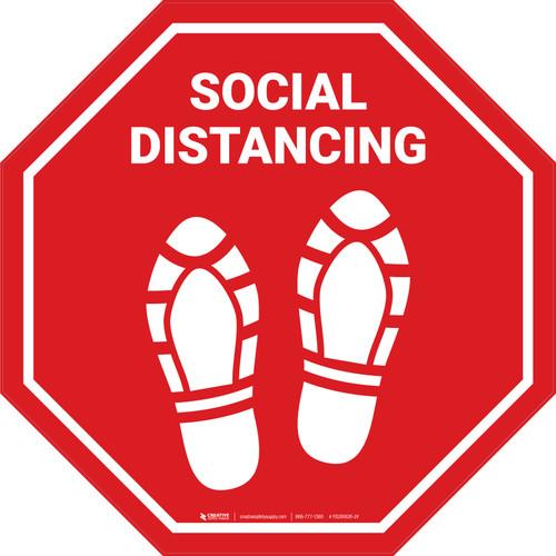 Social Distancing Shoe Prints Stop - Floor Sign