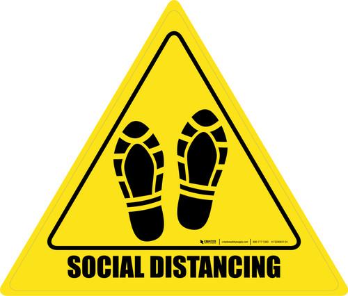 Social Distancing Shoe Prints Triangle - Floor Sign