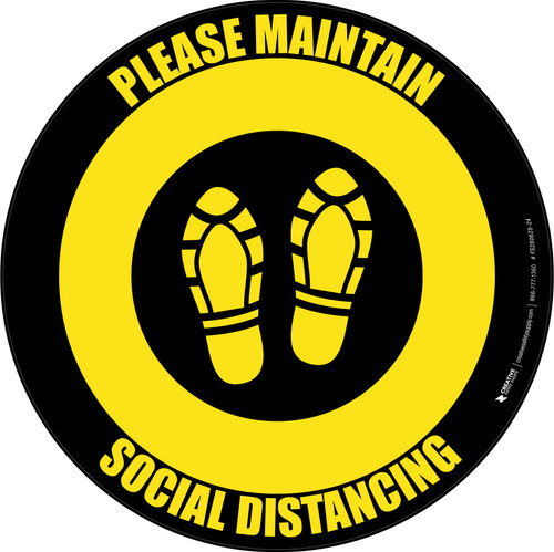 Social Distancing Shoe Prints Yellow Black Circular - Floor Sign