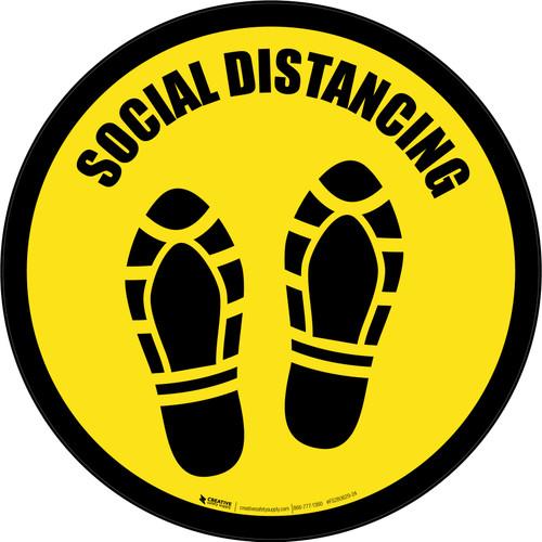 Social Distancing Shoe Prints Yellow Border Circular - Floor Sign