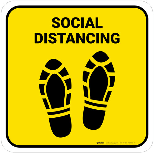 Social Distancing Shoe Prints Yellow Square - Floor Sign