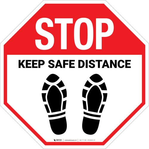 STOP: Keep Safe Distance Shoe Prints - Floor Sign