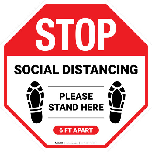 STOP: Social Distancing Please Stand Here 6 Ft Apart Shoe Prints - Floor Sign