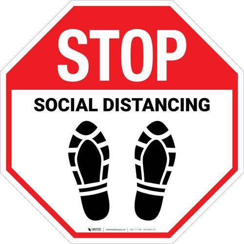 STOP: Social Distancing Shoe Prints - Floor Sign
