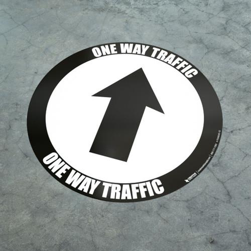 One Way Traffic - Up Arrow Black - Floor Sign