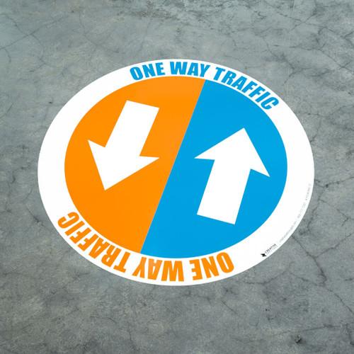 One Way Traffic - Arrows - Floor Sign