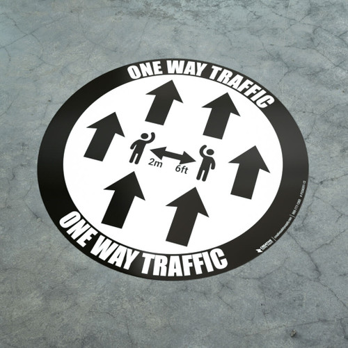 One Way Traffic - Multiple Arrows with Icon Black - Floor Sign