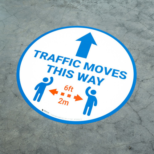 Traffic Moves This Way - Arrow with Icon - Floor Sign