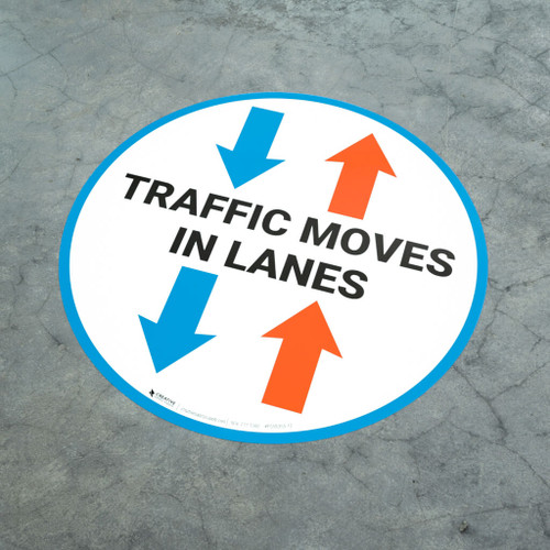 Traffic Moves In Lanes - Large Arrows - Floor Sign