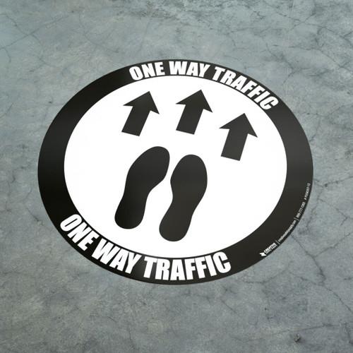 One Way Traffic - Feet - Floor Sign