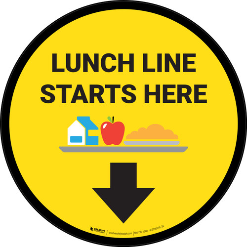 Lunch Line Starts Here Circle - Floor Sign