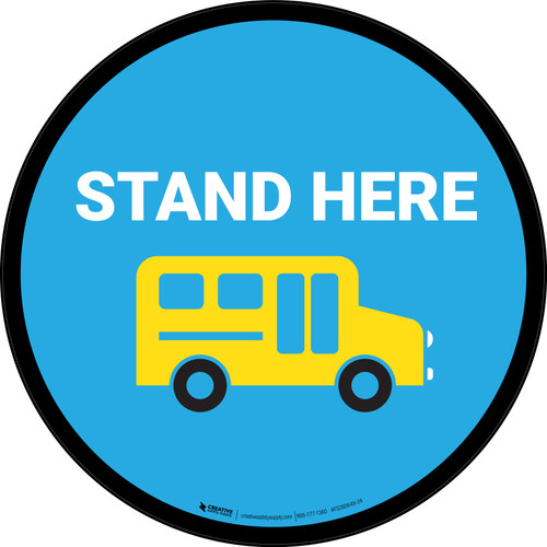 Stand Here Bus Icon Circle - Floor Sign