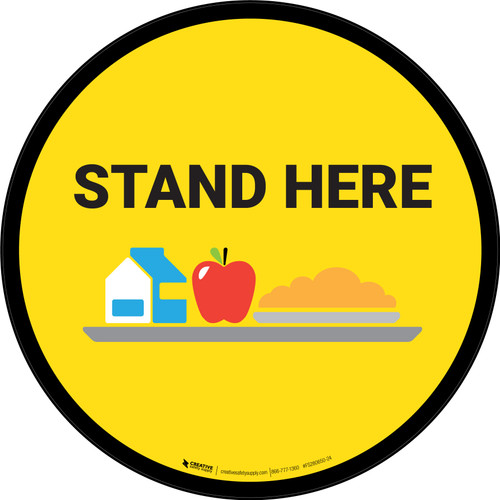 Stand Here Lunch Icon Circle - Floor Sign