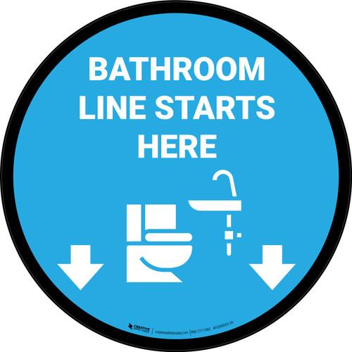 Line Starts Here Bathroom Icon Circle - Floor Sign